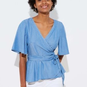 Loft Chambray Flutter Sleeve Wrap Top